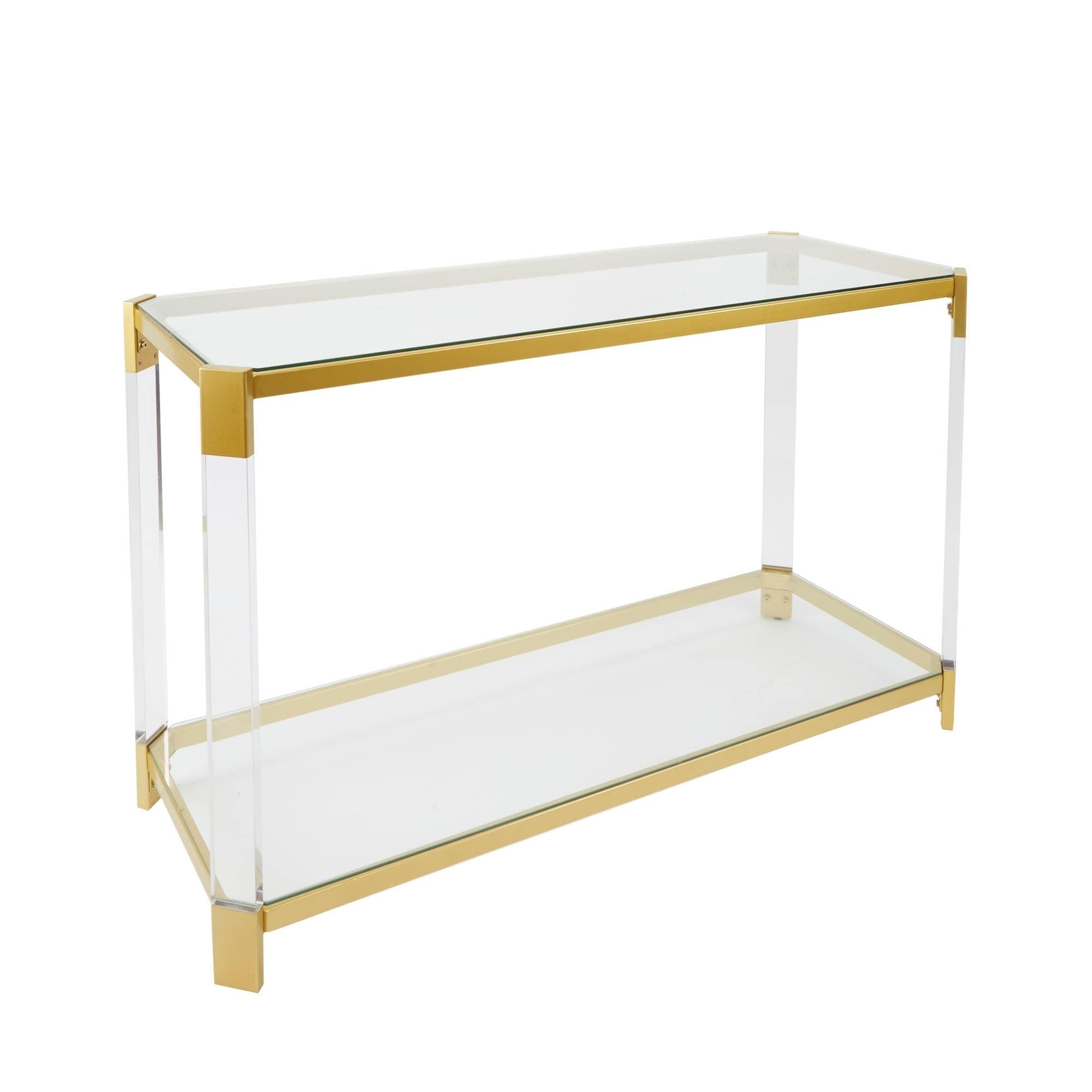 Glass Top Console Table Details About Huxley Goldtone Acrylic Console Table With Glass Top