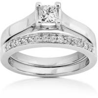 Annello 14k White Gold 1/2ct TDW Princess & Round Diamond