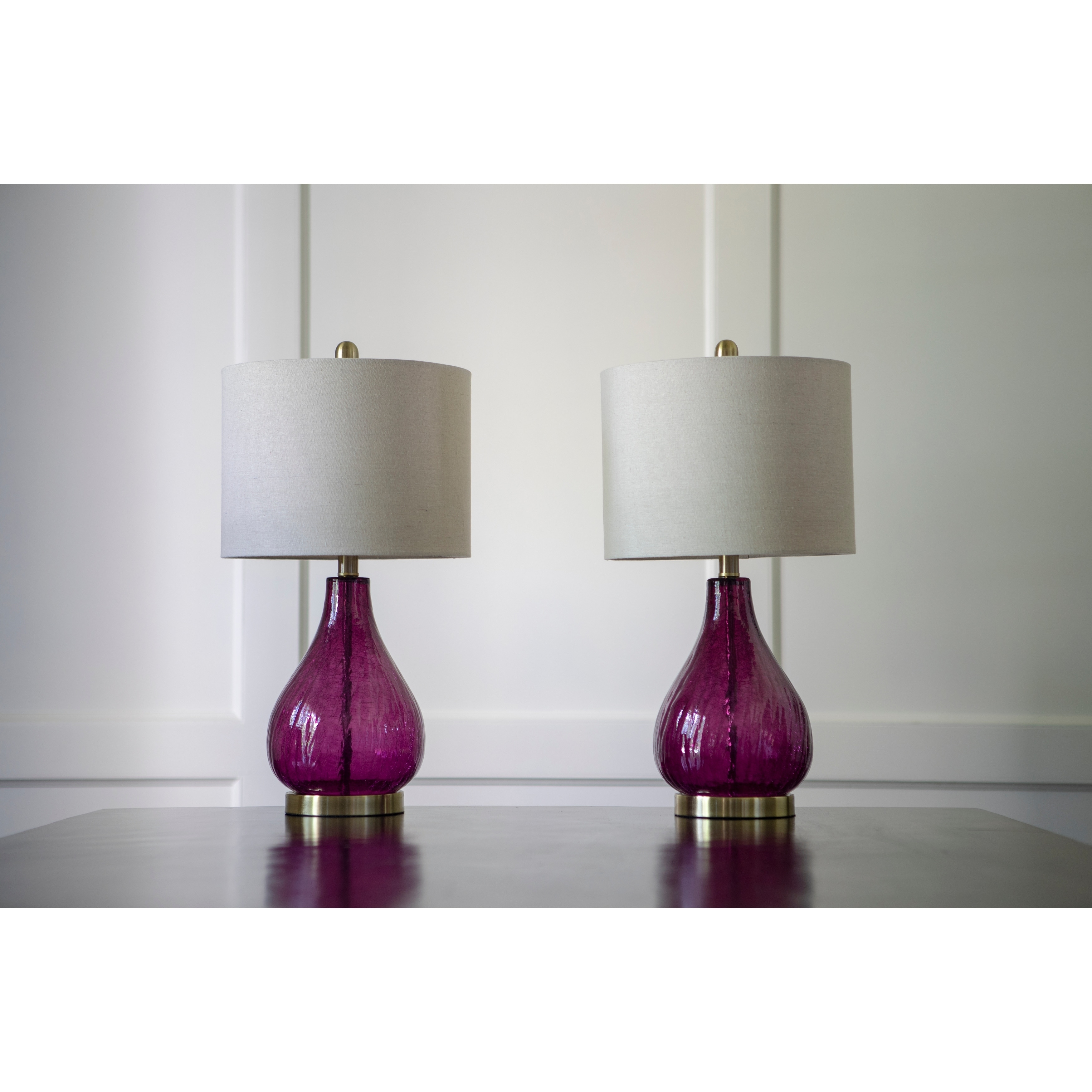 Glass Crackle Lamp Set Of 2 Plum Crackle Glass Table Lamps