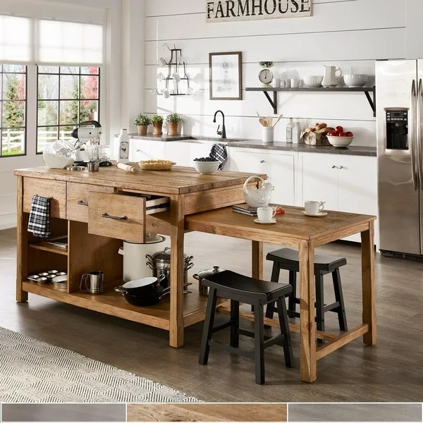 Movable Kitchen Islands With Stools Shop Tali Reclaimed Wood Extendable Kitchen Island By
