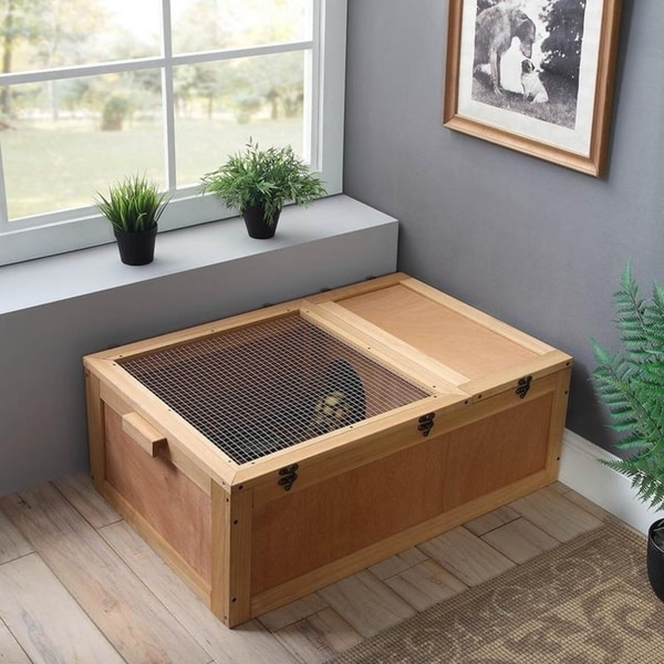 Shop Tortoise House with Wire Top  Wooden Handle,Pet Cage by