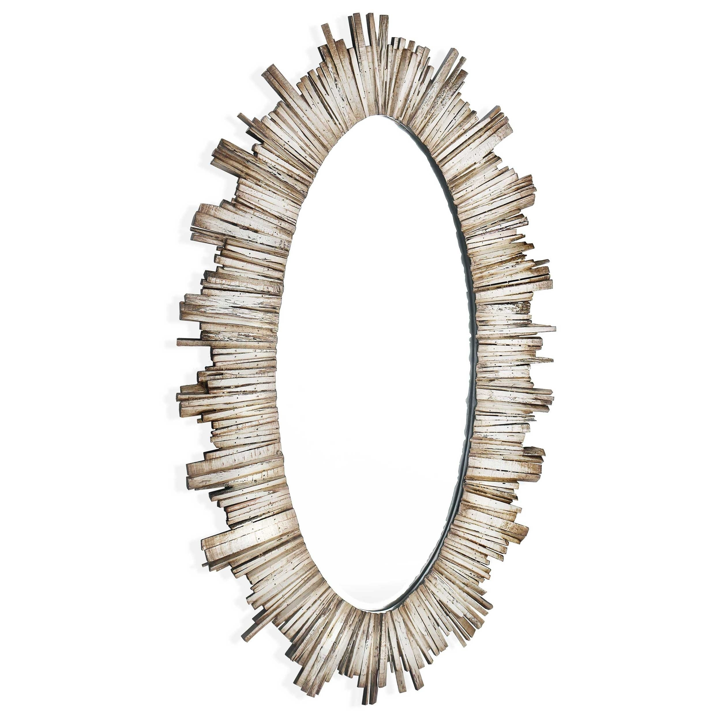 Oval Mirror Wood Frame Diya Oval Wood Framed Mirror