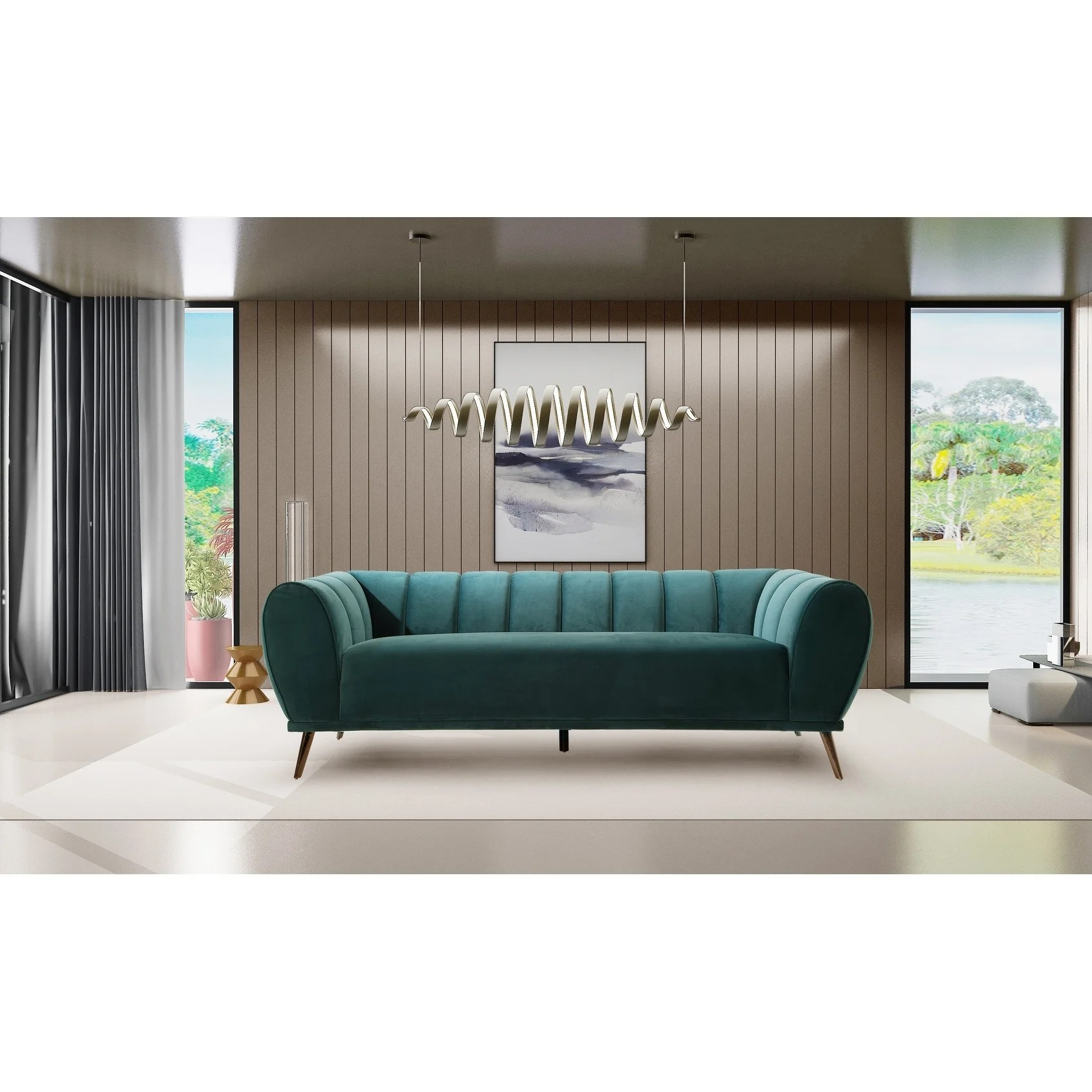 Modern Quilted Sofa Chic Home Fedor Velvet Channel Quilted Sofa