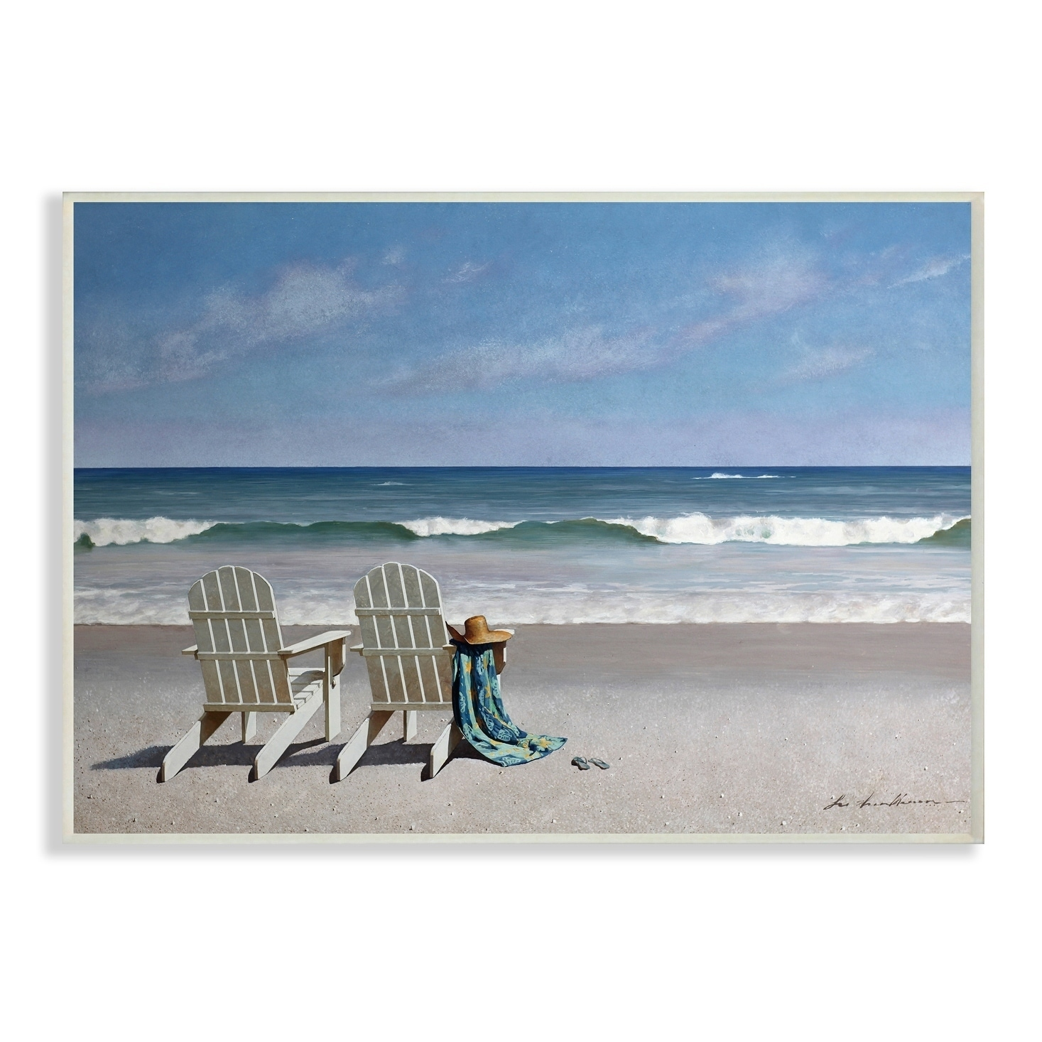 Porch Den Two White Adirondack Chairs On The Beach Wall Plaque Art 10 X 15 On Sale Overstock 26950489