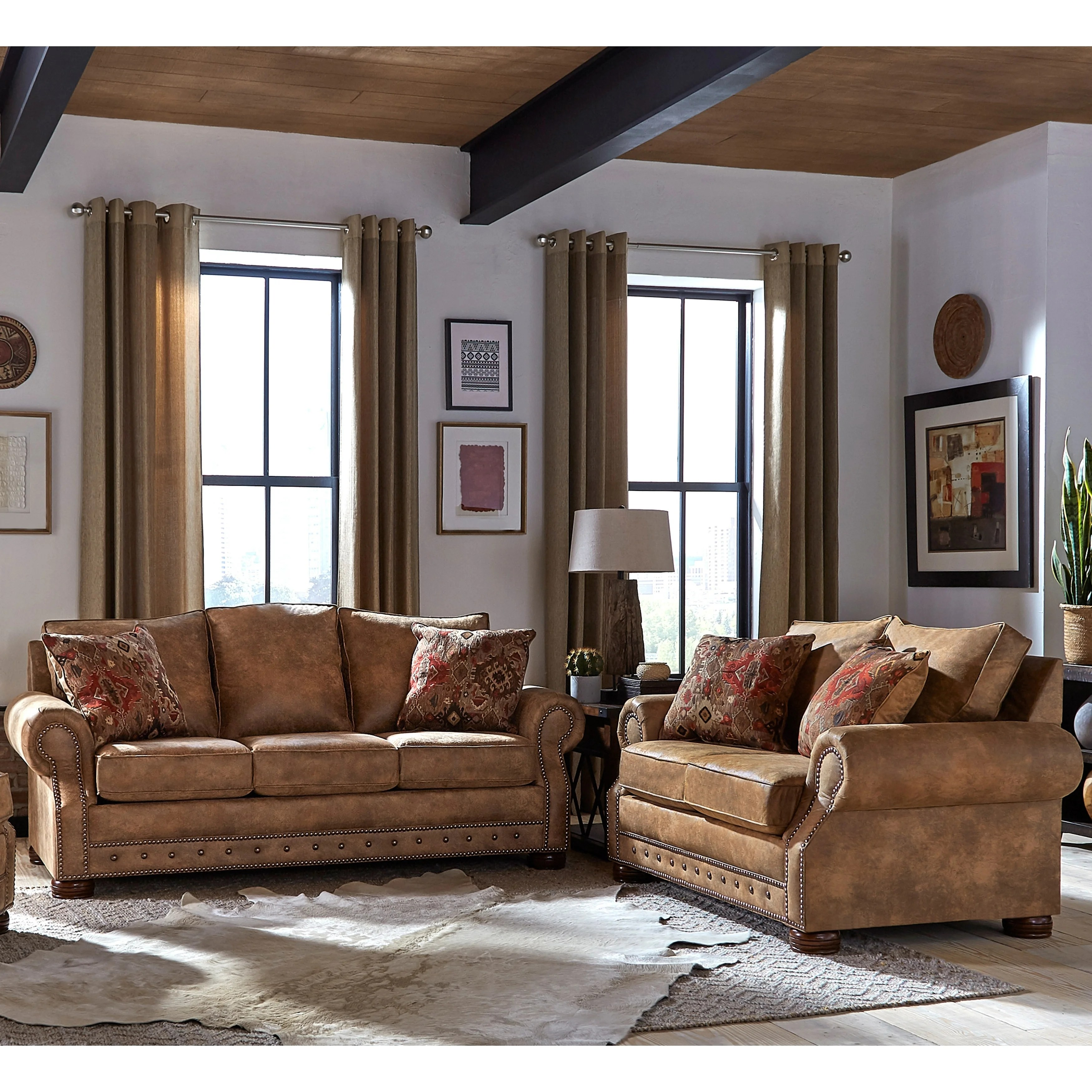 Made In Usa Rancho Rustic Brown Buckskin Fabric Sofa And Loveseat On Sale Overstock 27415174