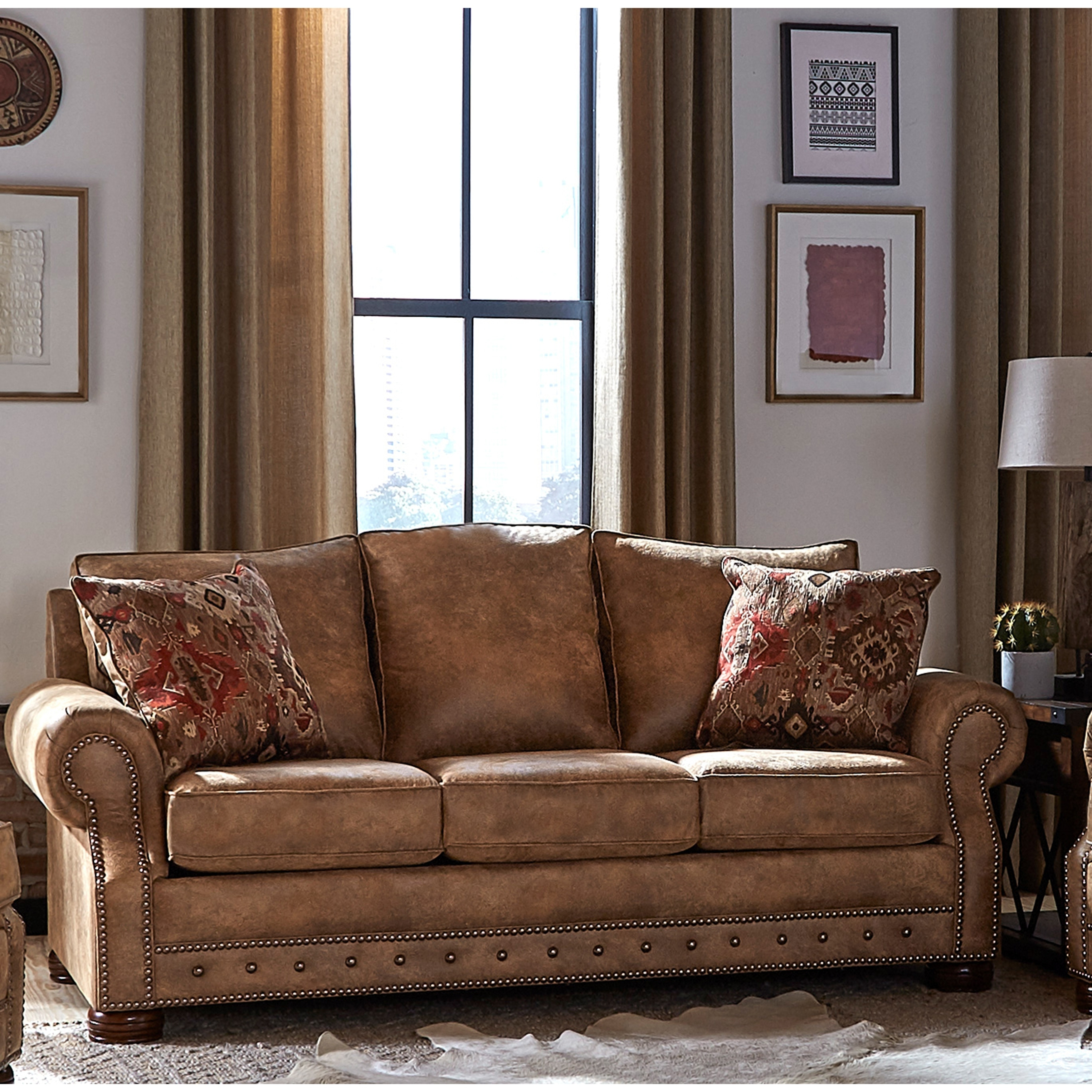 Made In Usa Rancho Rustic Brown Buckskin Fabric Sofa Bed 37 X 86 X 40 On Sale Overstock 27415218