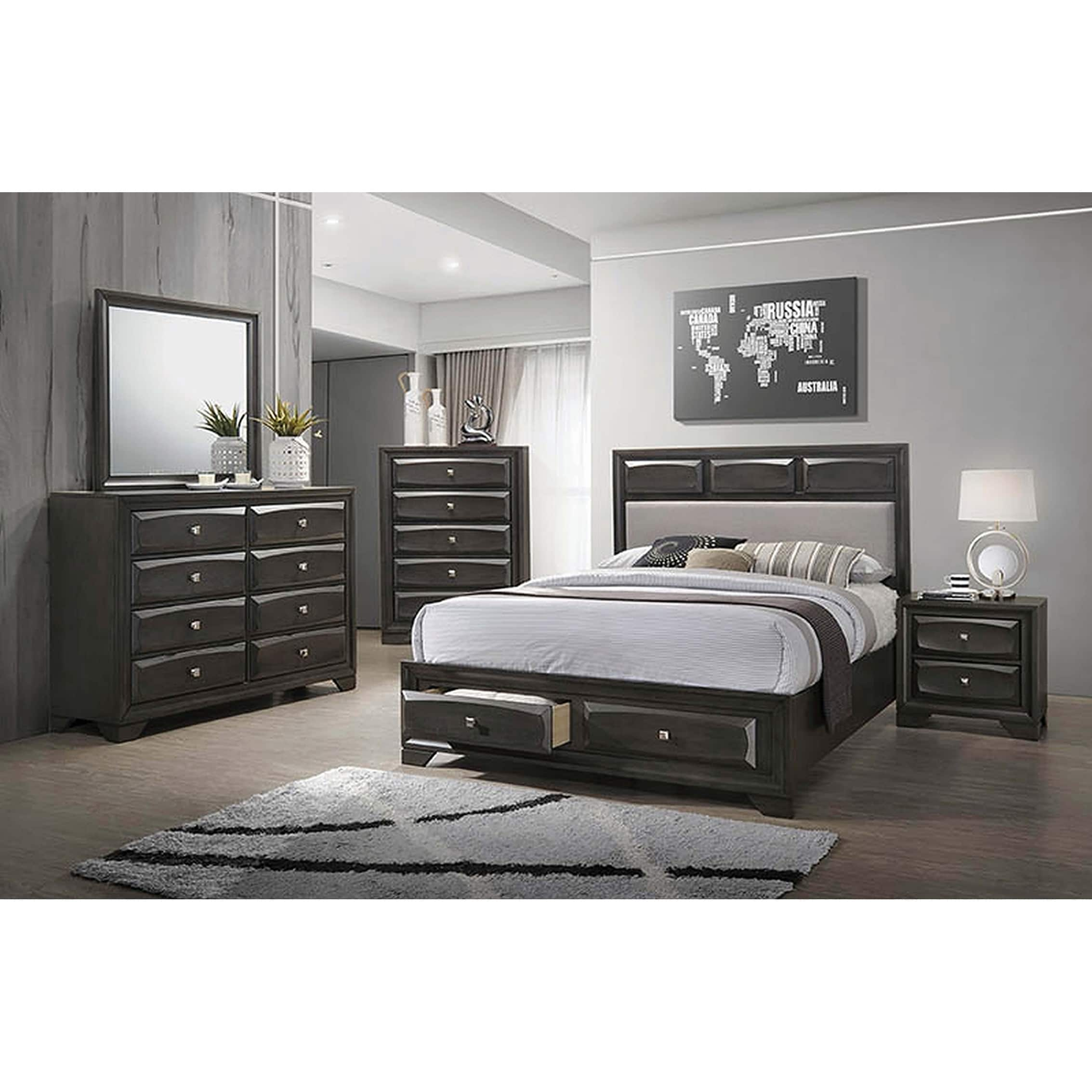 Storage Beds Australia Erroll Transitional Brown Graphite Storage Bed