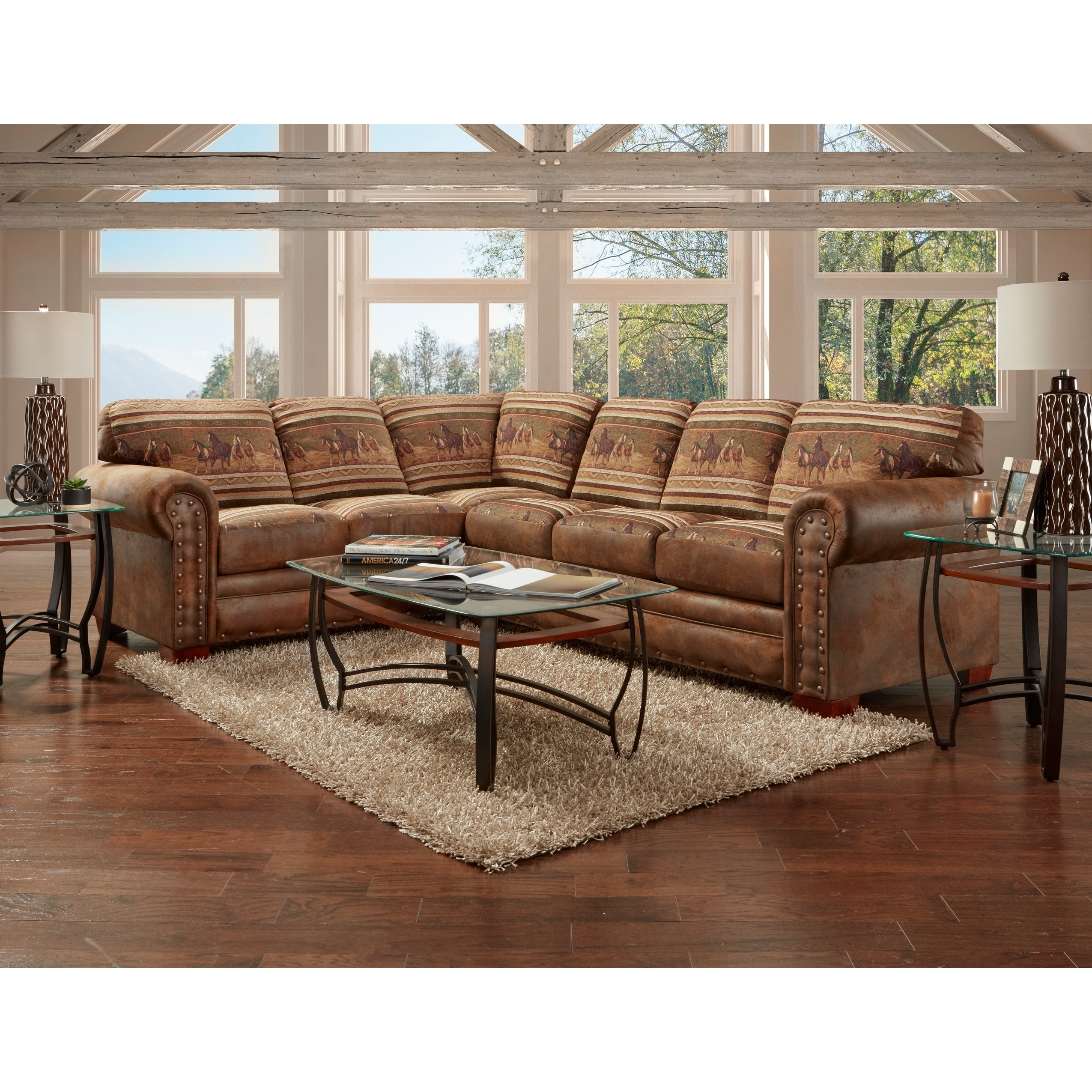 American Sofa Images American Furniture Classics Model 8506 40k Wild Horses Two Piece Sectional Sofa 8 X 10