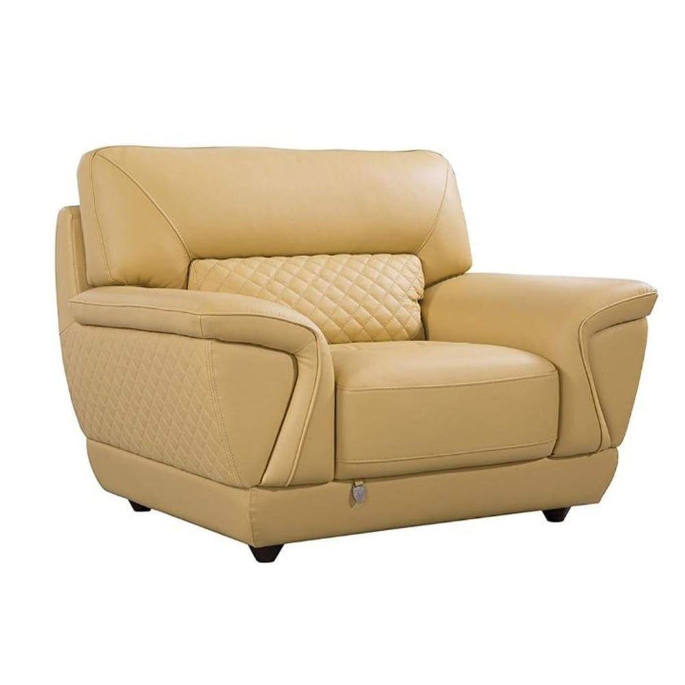 Leather Upholstered Wooden Sofa Chair With Attached Lumbar Cushion Yellow On Sale Overstock 28284170