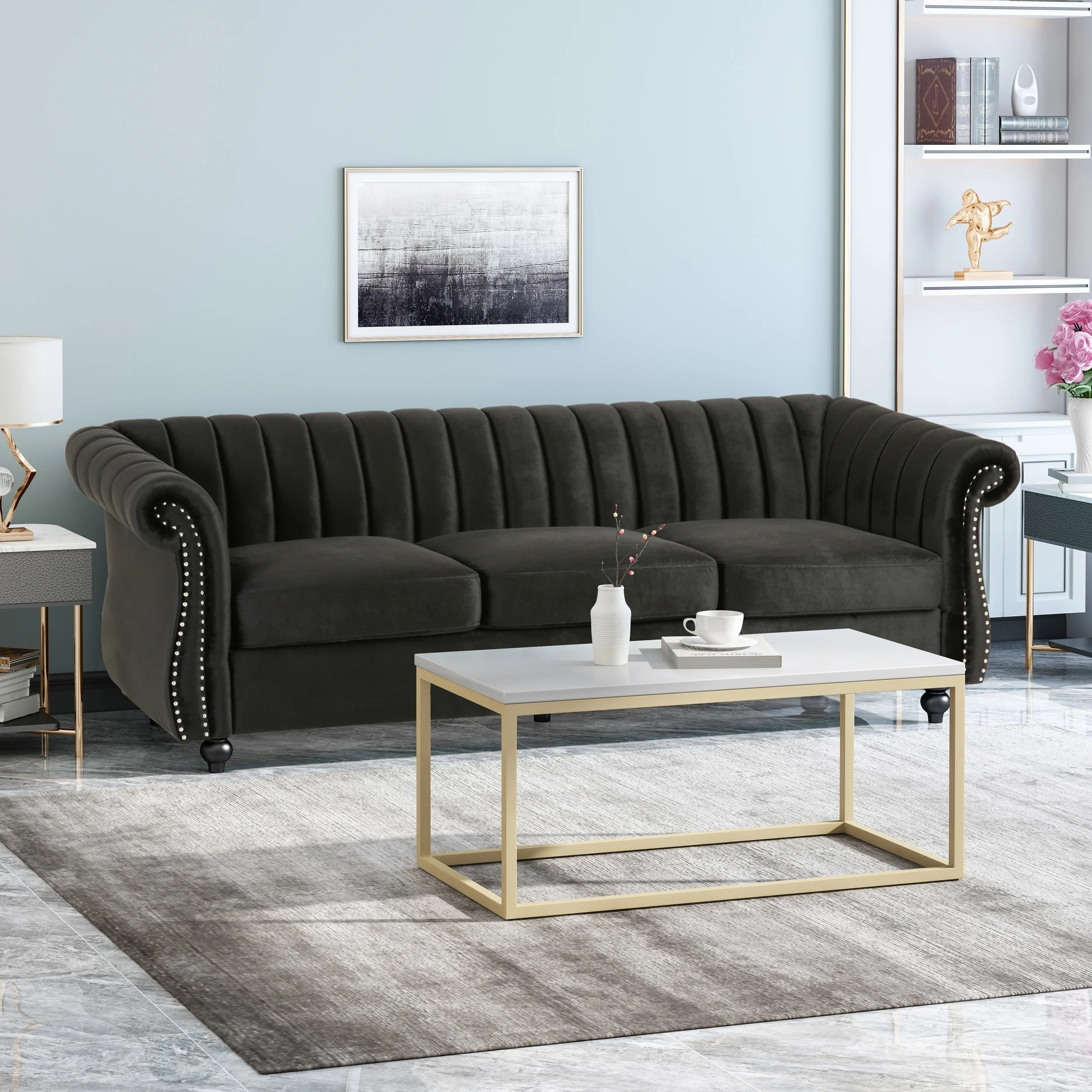 Chesterfield Sofa Samt Rosa Buy Nailheads Sofas Couches Online At Overstock Our Best Living