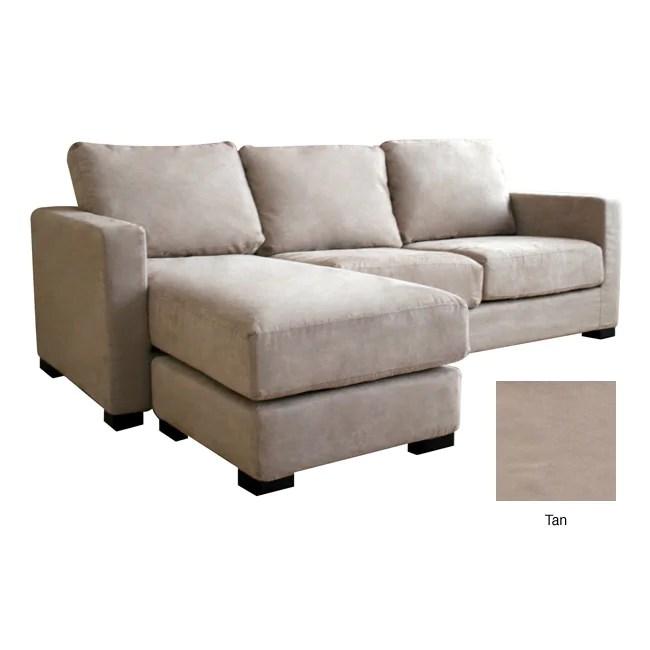 Chyna Tan Microfiber Sofa With Convertible Ottoman Chaise