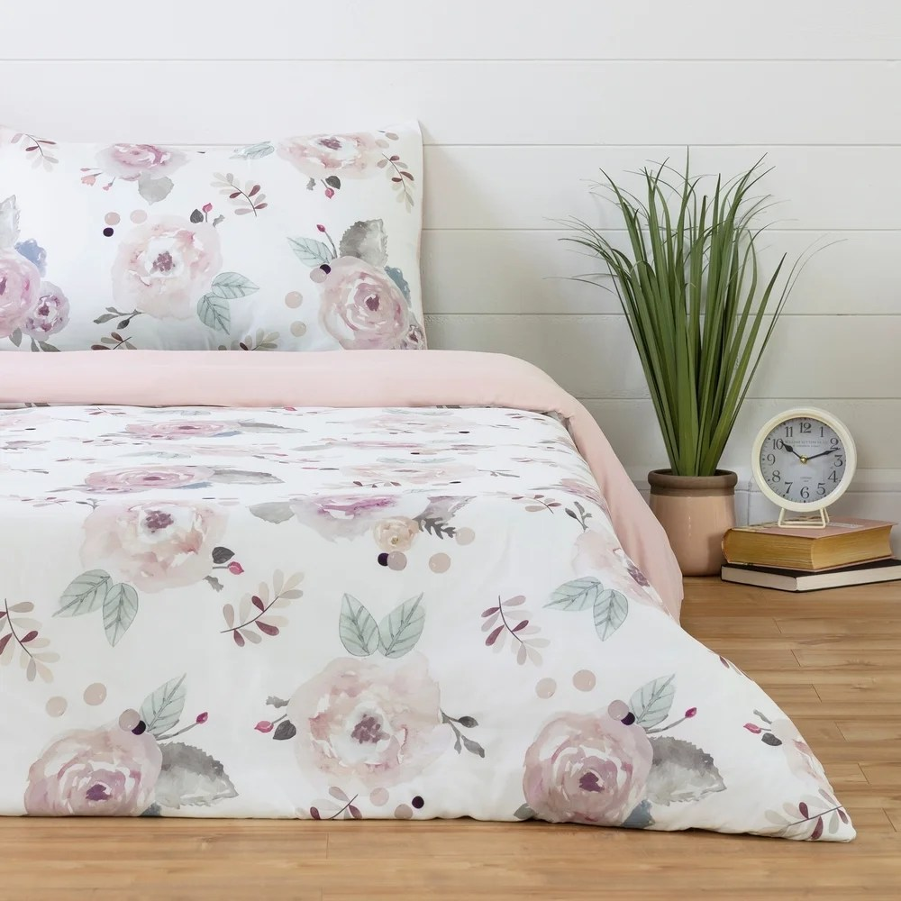 Pink Duvet Covers Patchwork Floral Butterfly Printed Quilt Cover Bedding Sets