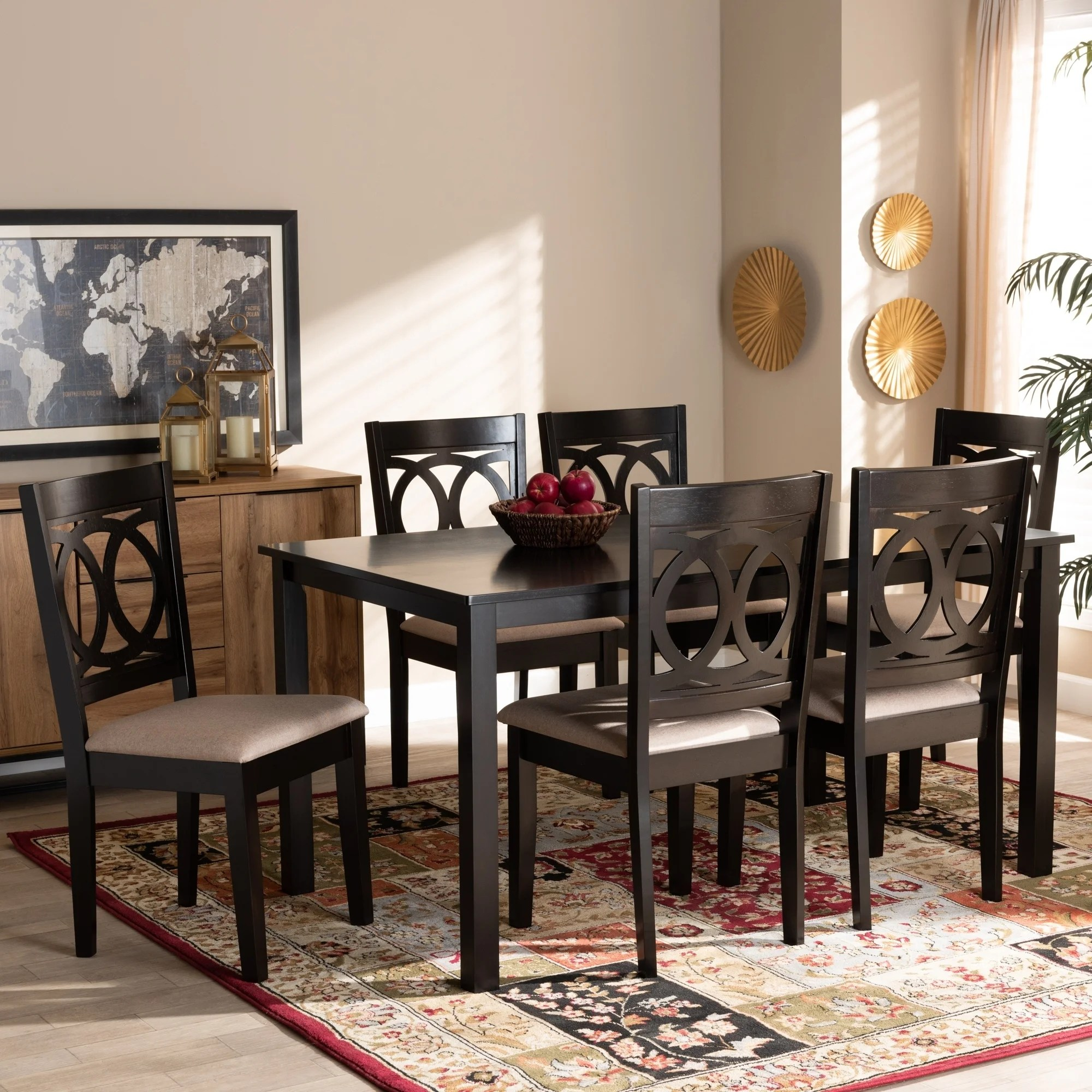 Lenoir Modern And Contemporary Upholstered Wood 7 Piece Dining Set Overstock 30126776 Grey