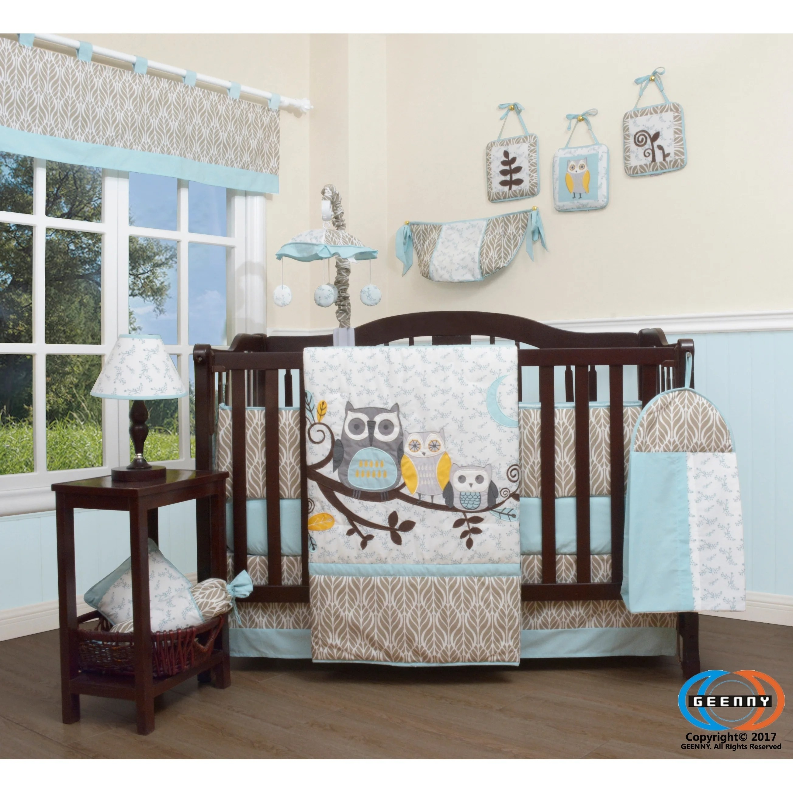 Geenny Enchanted Forest Owls Family 13 Piece Baby Nursery Crib Bedding Set Overstock 30897755