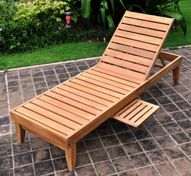 Deluxe Teak Chaise Lounge With Tray Free Shipping Today - Outdoor Teak Loungers