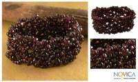Handmade Garnet 'Cherry Cheer' Stretch Bracelet (India ...