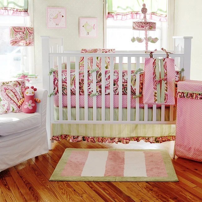 My Baby Sam Paisley Splash In Pink 4 Piece Crib Bedding
