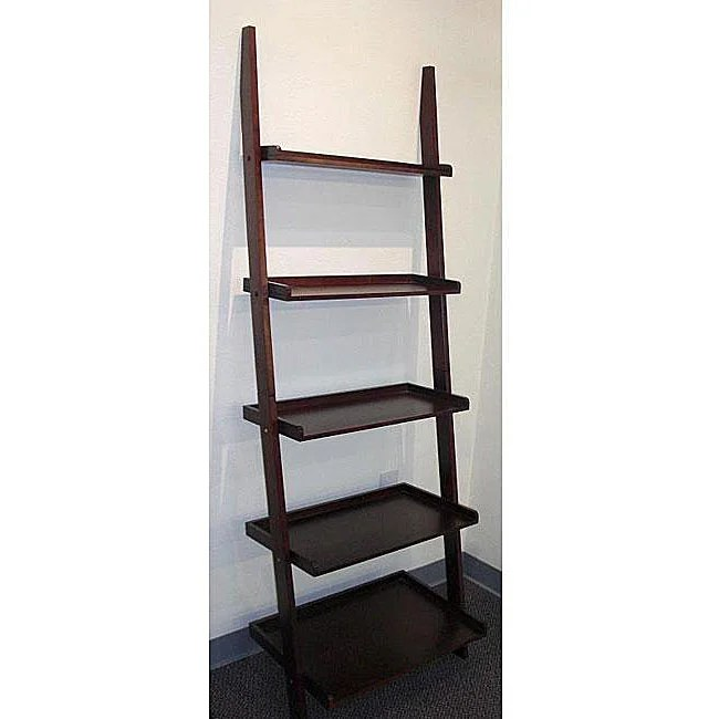 Cappuccino Five Tier Leaning Ladder Shelf Free Shipping