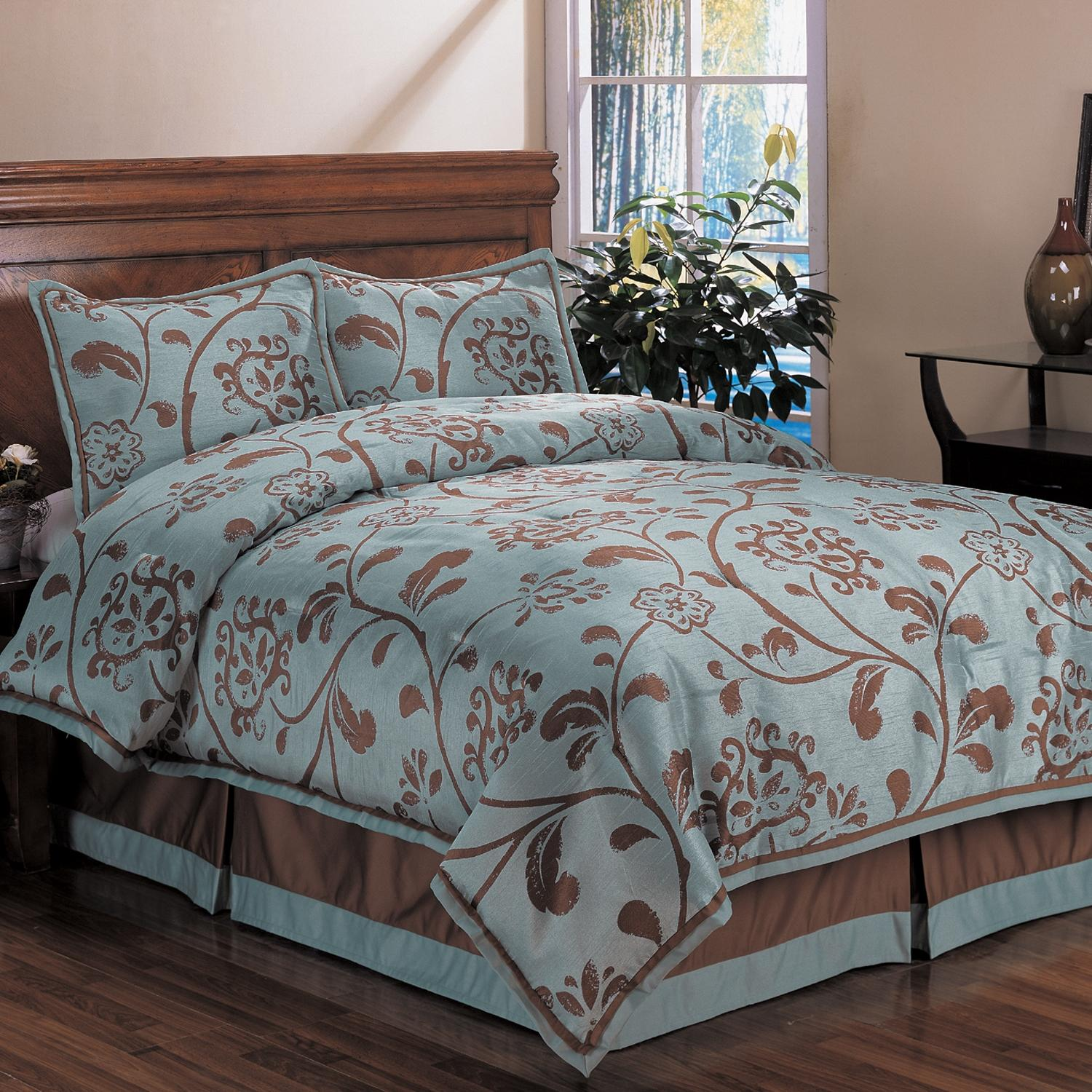 King Quilt Size Bella Floral King Size 4 Piece Comforter Set 13191621