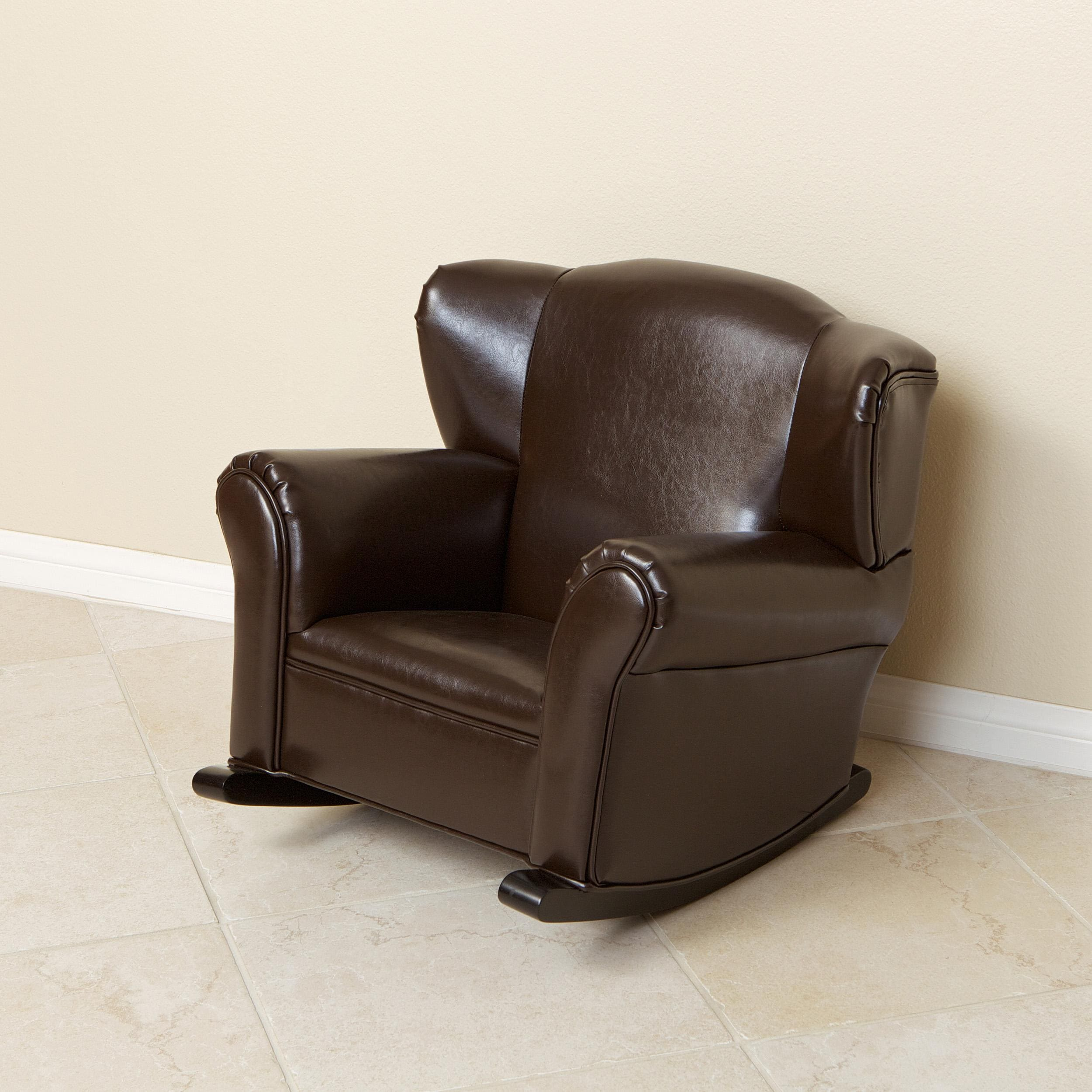 Upholstered Children's Chairs Bonded Leather Brown Kids Rocking Chair