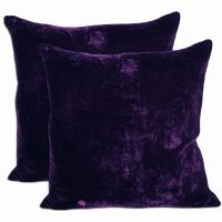 Purple Velvet Feather and Down Filled Throw Pillows (Set ...