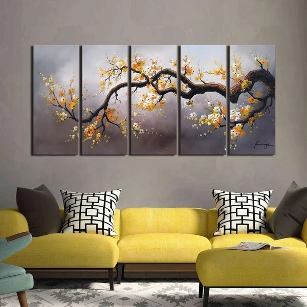 Plum Blossom 315u0027 Hand Painted 5-piece Gallery-wrapped Canvas Art - living room canvas art
