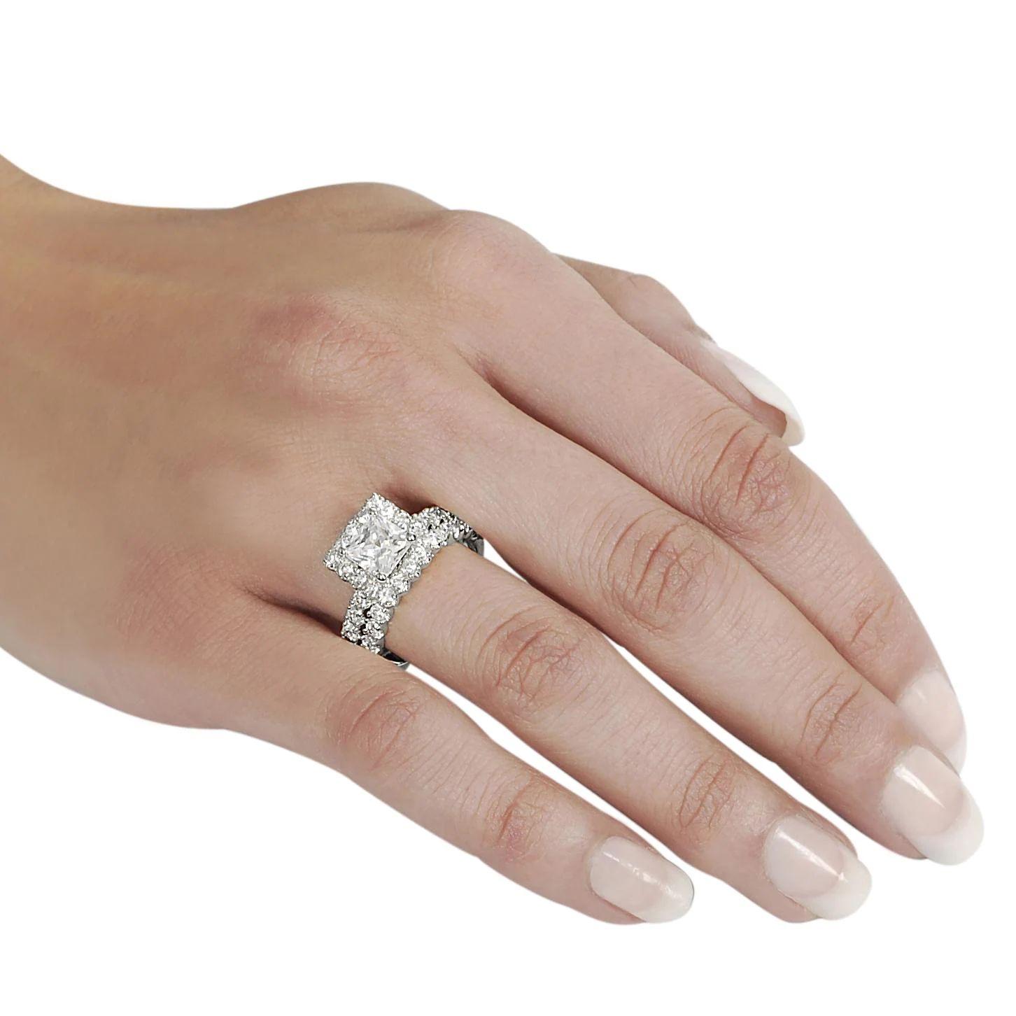 set princess cut cubic zirconia bridal download - Princess Cut Diamond Wedding Ring Sets