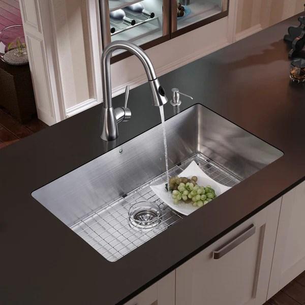 Vigo Undermount Stainless Steel Kitchen Sink Faucet Grid