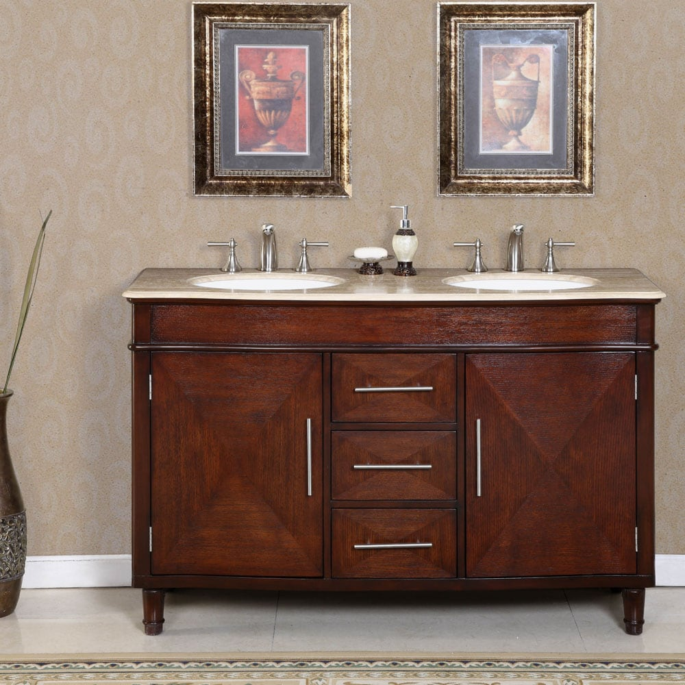 Silkroad exclusive travertine top 55 inch double sink