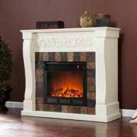 Moreland Ivory and Gray Faux Slate Electric Fireplace ...