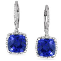 Miadora Sterling Silver Created Sapphire and 1/5ct TDW