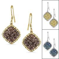 Miadora Sterling Silver Druzy Gemstone Dangle Earrings
