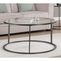 Round Glass Top Metal Coffee Table - Overstock Shopping ...