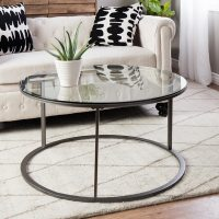 Shop Clay Alder Home Round Glass Top Metal Coffee Table ...