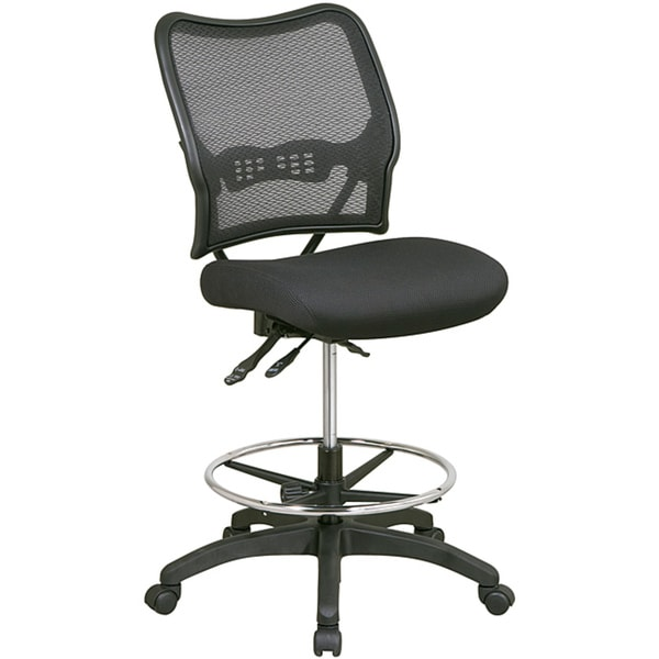 Space Black Drafting Chair with Breathable Dark Air Grid Back - Free