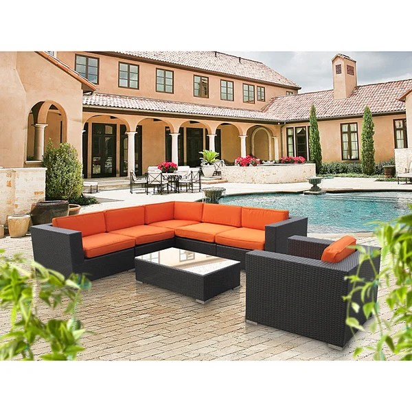 Corona Outdoor Patio Espresso 7-Piece Sectional Sofa Set - Free - 7 piece living room set