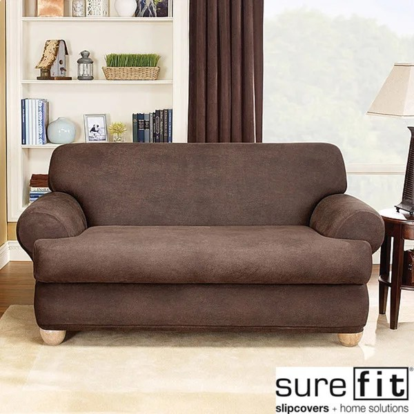 Sure Fit Brown Stretch T Cushion 2 Piece Loveseat