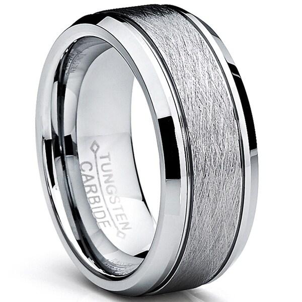 Shop Oliveti Tungsten Carbide Men\u0027s Brushed Center Ring Wedding Band
