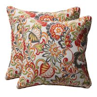 Multicolored Floral Square Outdoor Toss Pillows Set of 2