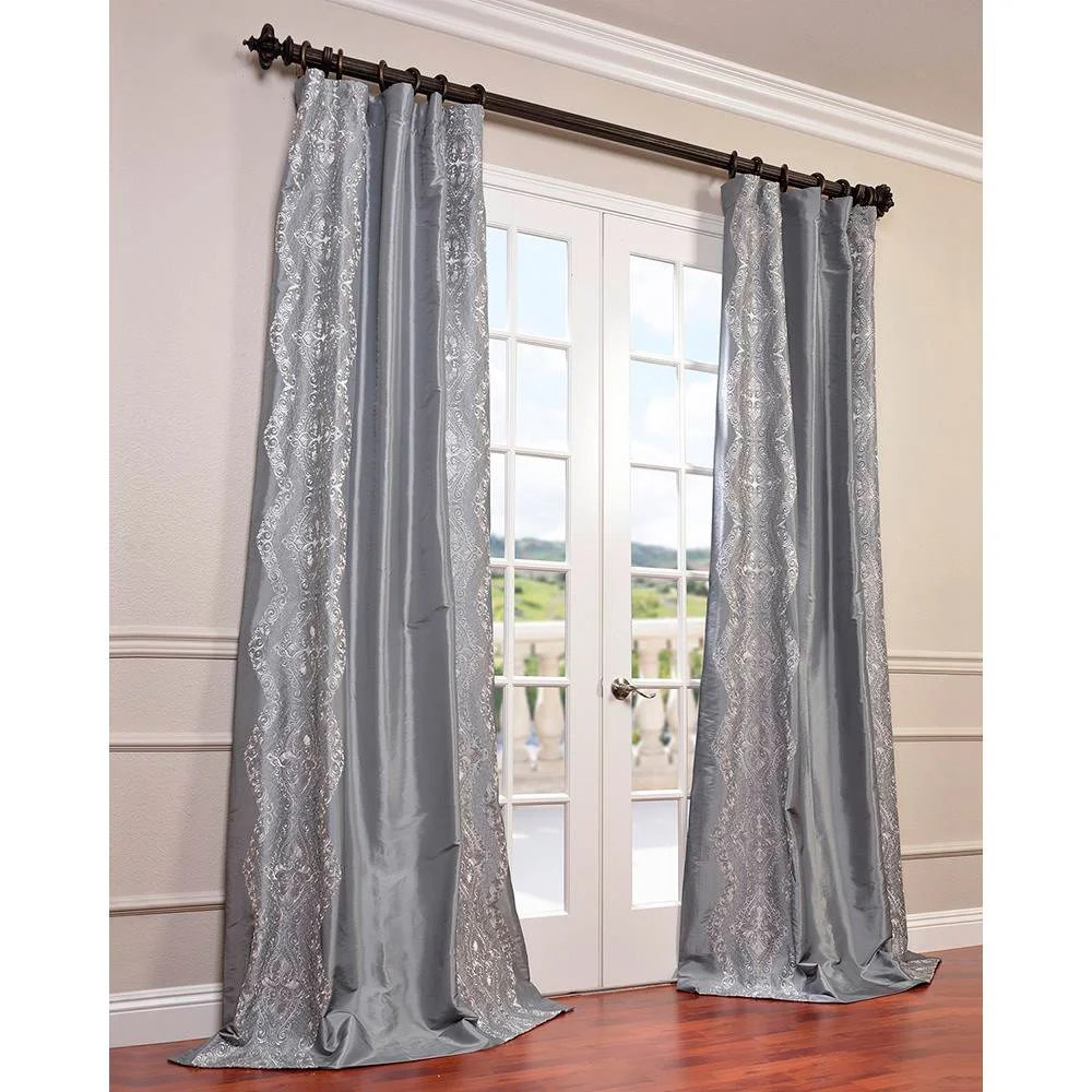 Faux Silk Curtains Exclusive Fabrics Chai Embroidered Faux Silk Curtain Panel 50 X 120
