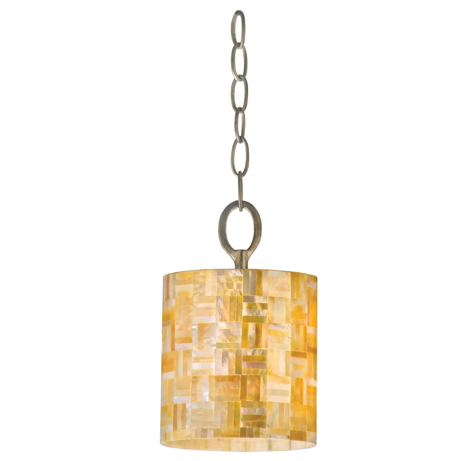 Mini Pendant Lights With Seeded Glass Shop Varaluz Naturals 1-light Yellow Mother-of-pearl Shell