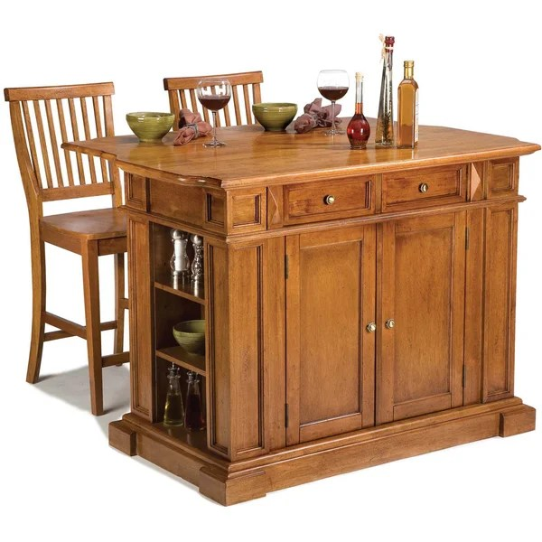 Aspen Rustic Cherry Kitchen Island Home Styles Distressed Oak Kitchen Island And Stools