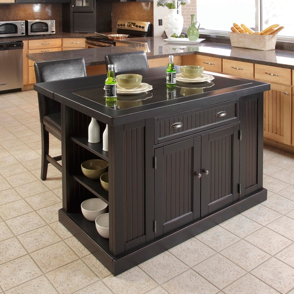Overstock Kitchen Island Home Styles Nantucket Distressed Black Finish Kitchen