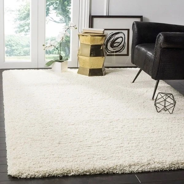 Safavieh California Cozy Plush Ivory Shag Rug (5u00273 x 7u00276) - Free - living room shag rug