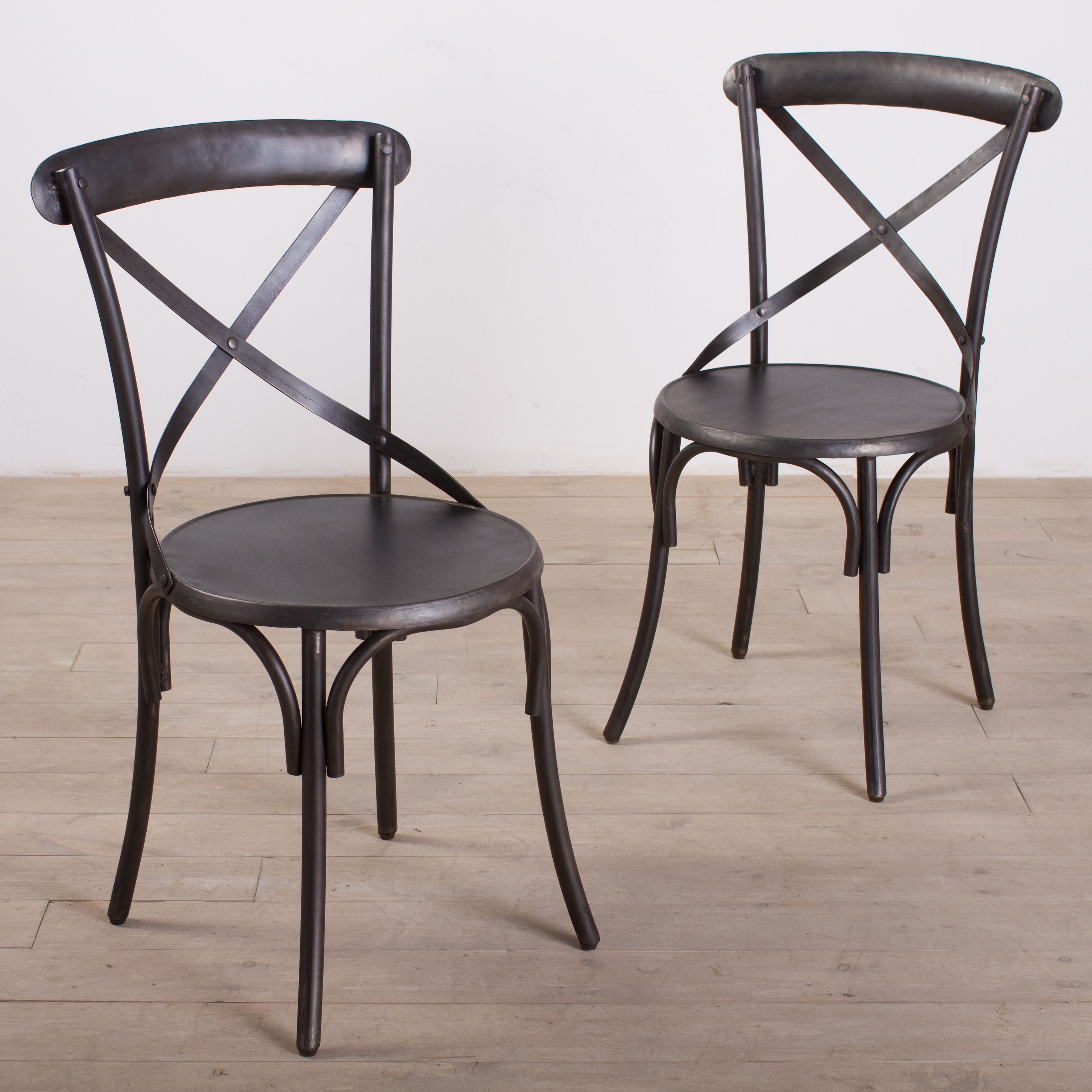 Metal bistro chairs zinc finish set of 2 furniture home
