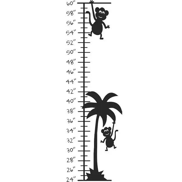 Monkey Palm Tree Growth Chart Vinyl Wall Decal