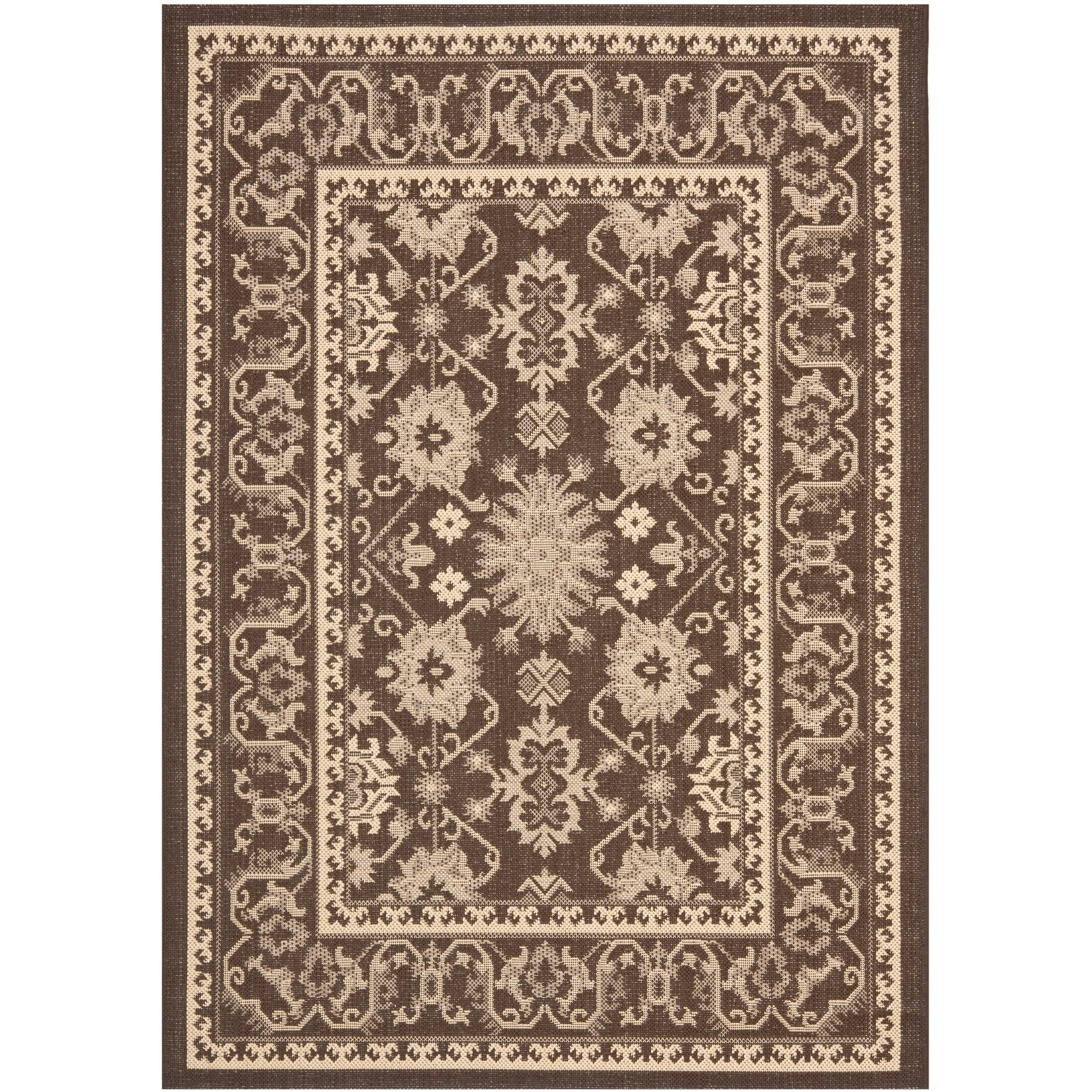 Safavieh Courtyard Safavieh Courtyard Charm Chocolate Cream Indoor Outdoor Rug 4 X 5 7