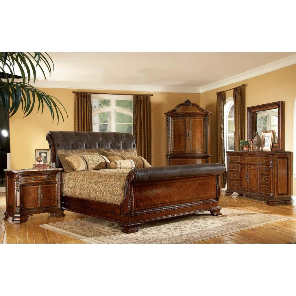 Furniture Overstock A R T Furniture Old World King Size 4 Piece Wood Leather Sleigh Bedroom Set
