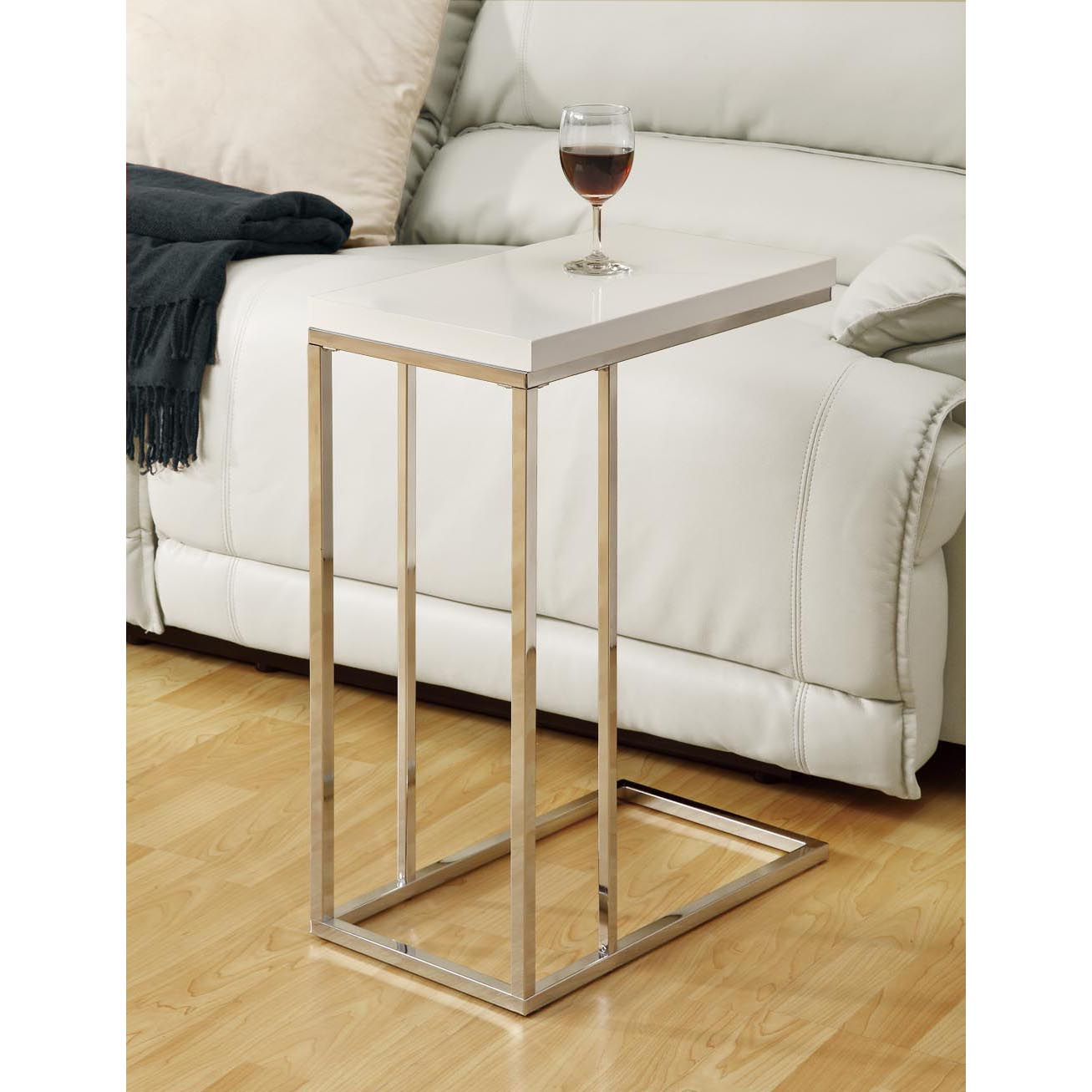 White Metal End Table Glossy White Chrome Metal Accent Table 14344478