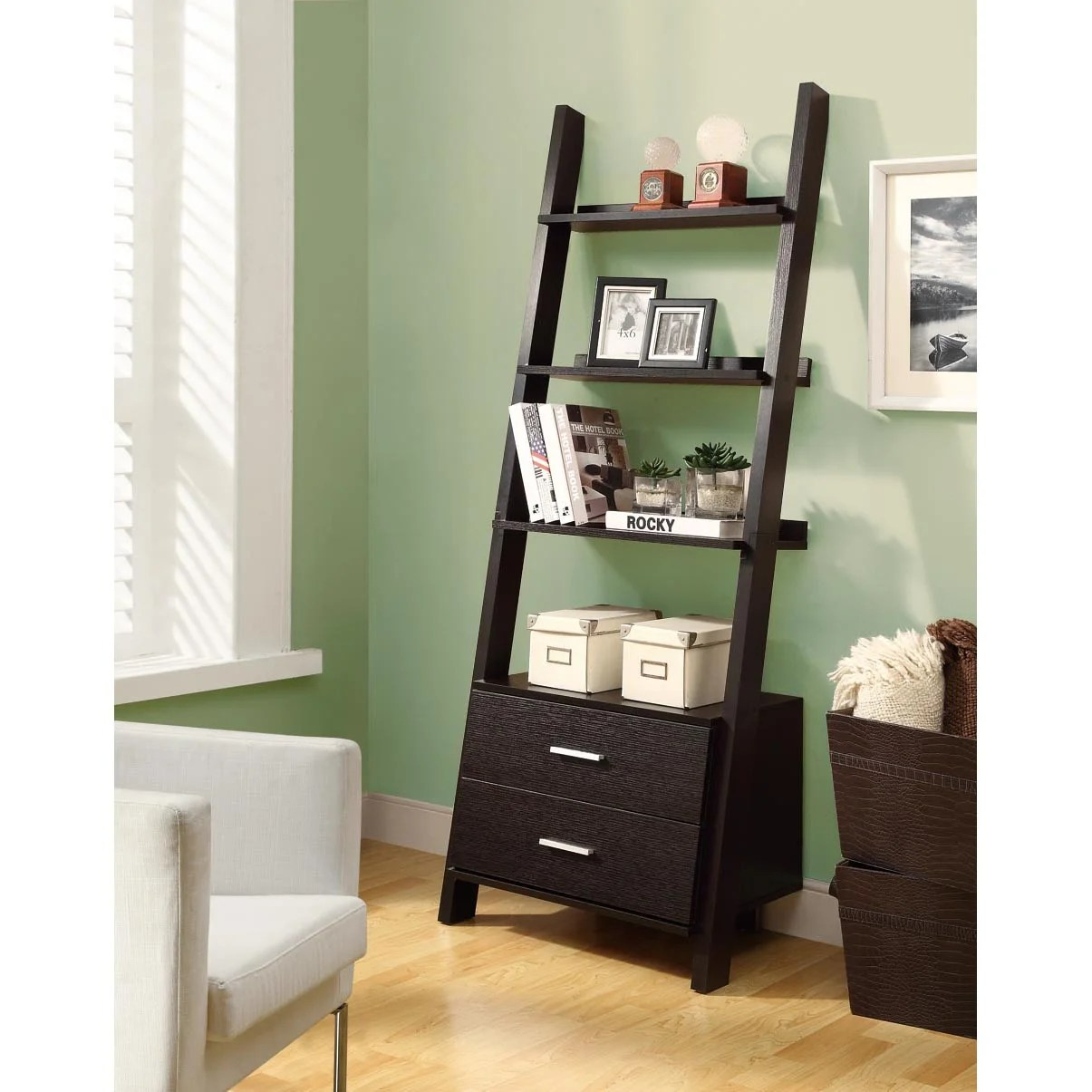 Cappuccino 69 Inch Ladder Bookcase With Storage Drawers
